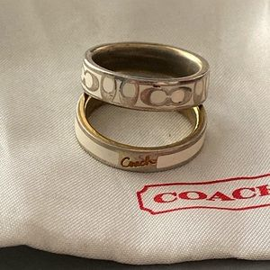 Coach Gold Tone  & Ivory Rings Size 7